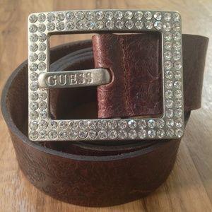 Guess Vintage Belts| brown rhinestone buckle belt
